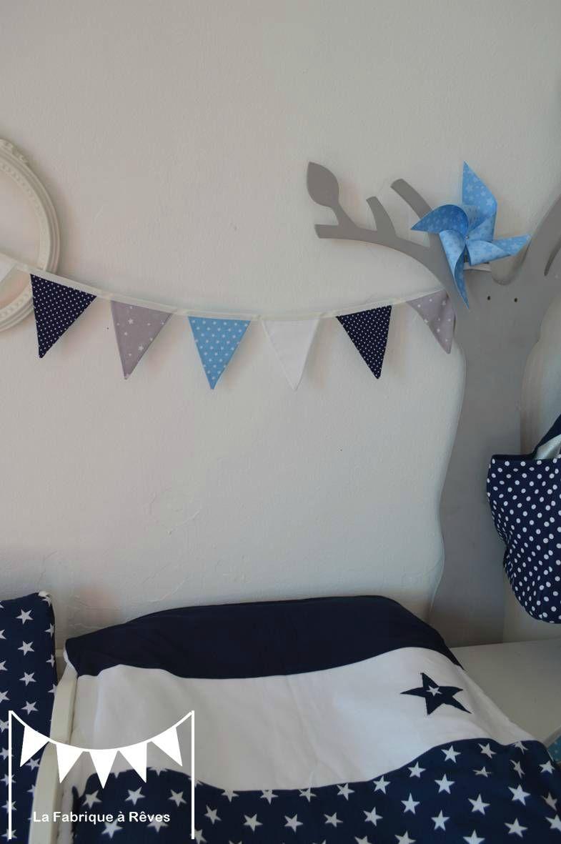 Banderole fanions gris blanc bleu ciel bleu marine toiles pois d coration chambre b b enfant - Fanion deco chambre ...