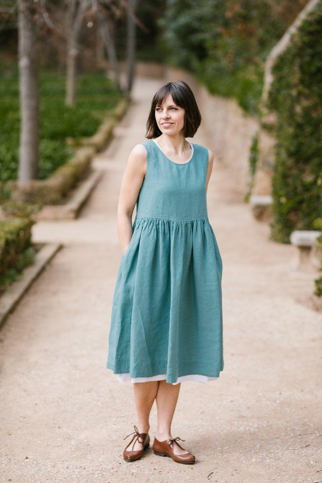 Smock Dress Sleeveless Mint Son De Flor Linen Dresses Summer Linen Dresses White Linen Dress Summer [ 1600 x 1067 Pixel ]