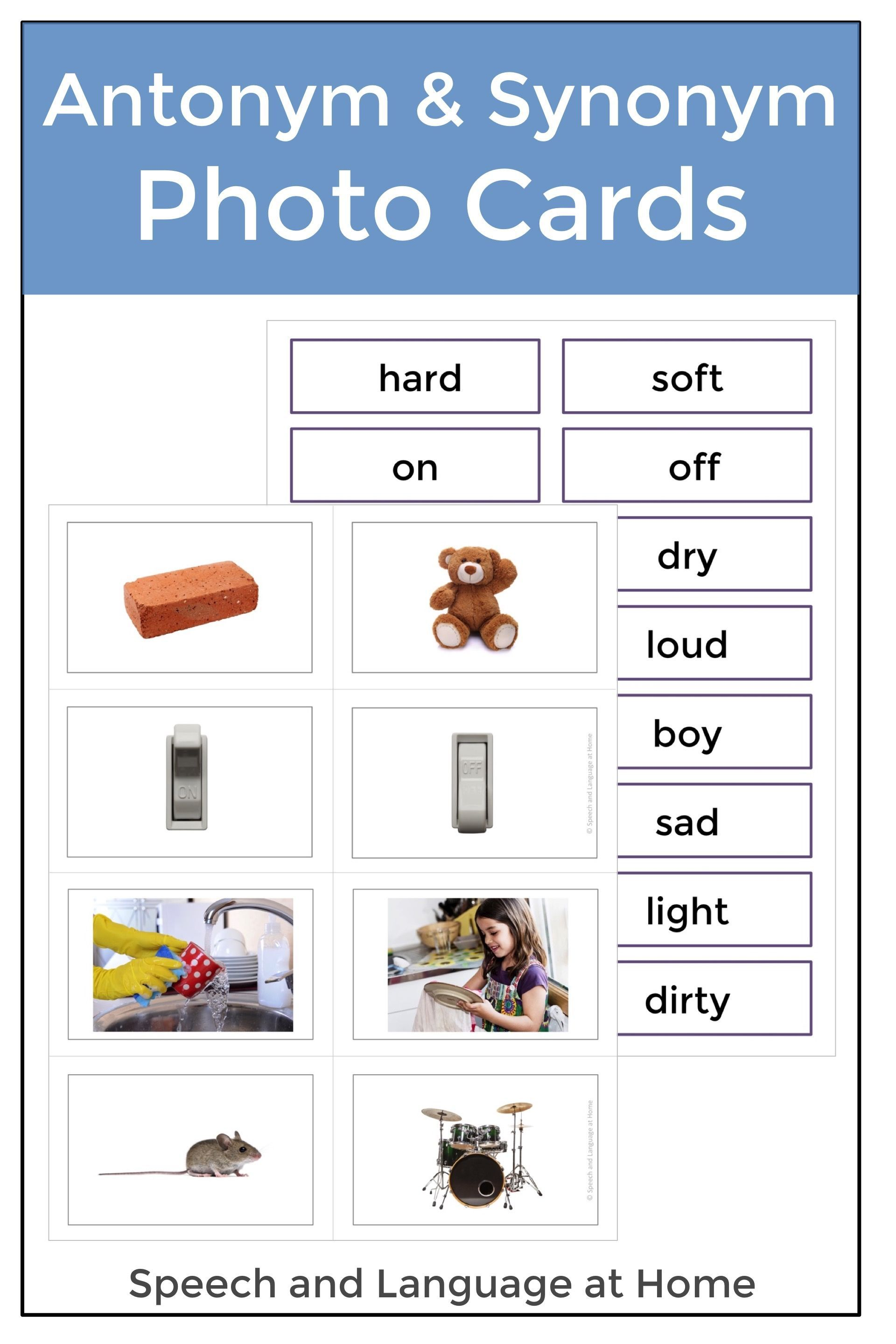 Help Your Students Develop Literacy Skills By Teaching Antonyms And Synonyms These Simple Picture Cards Are Speech And Language Grammar Skills Literacy Skills