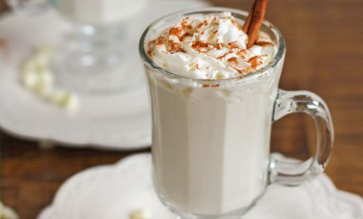 Ground nutmeg and cinnamon warm the soul in this simple but decadent white hot chocolate recipe.