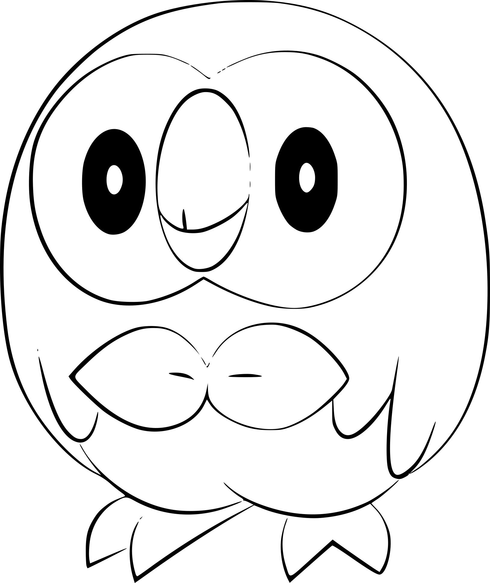Pokemon Rowlet Coloring Page Anime