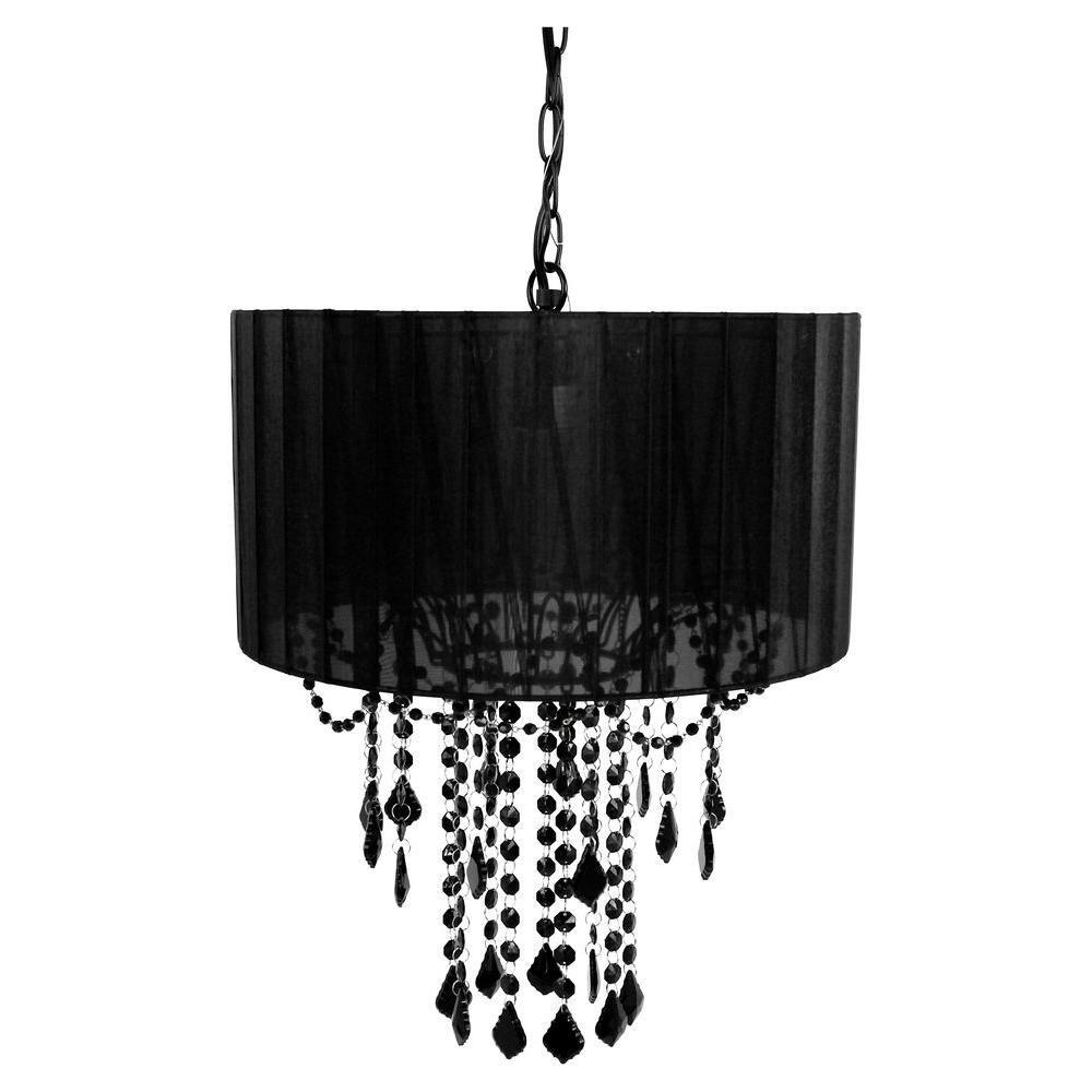 Tadpoles 1 Light Black Shaded Chandelier Cchash020 The Home