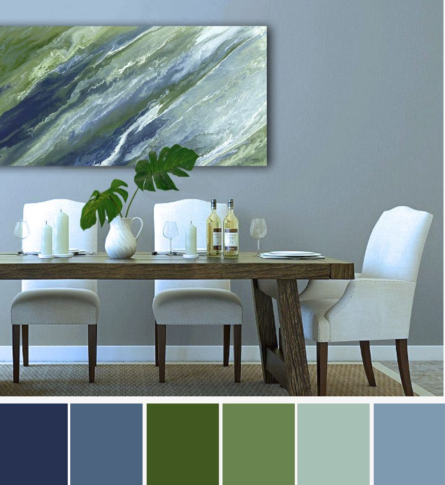 Large Navy Blue Green Wall Art Canvas Abstract Print Wide Artwork For Bedroom Dining Living Room Pictures Or Office Decor Olive Sage Living Room Green Green Living Room Decor Blue