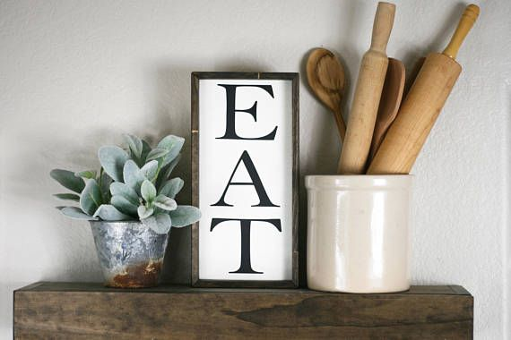 Eat Sign Small Eat Wooden Sign 12x6 Kitchen Wall Decor Kitchen Eat Sign Vintage Style Wooden Sign Kitchen Wall Art Shelf Sign Eat Sign Kitchen Wall Decor Rustic Kitchen Wall Decor