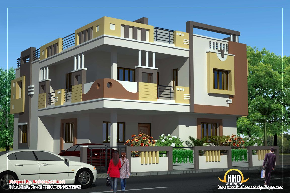 Duplex house elevation view 1 2878 sq ft 267 sq m for Front view of duplex house in india