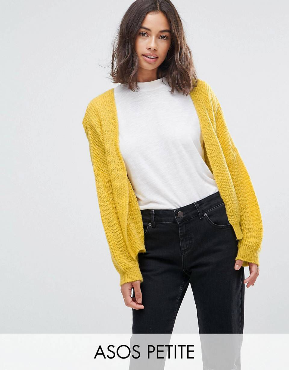 ASOS PETITE Chunky Cardigan In Fluffy Rib yellow open front ...