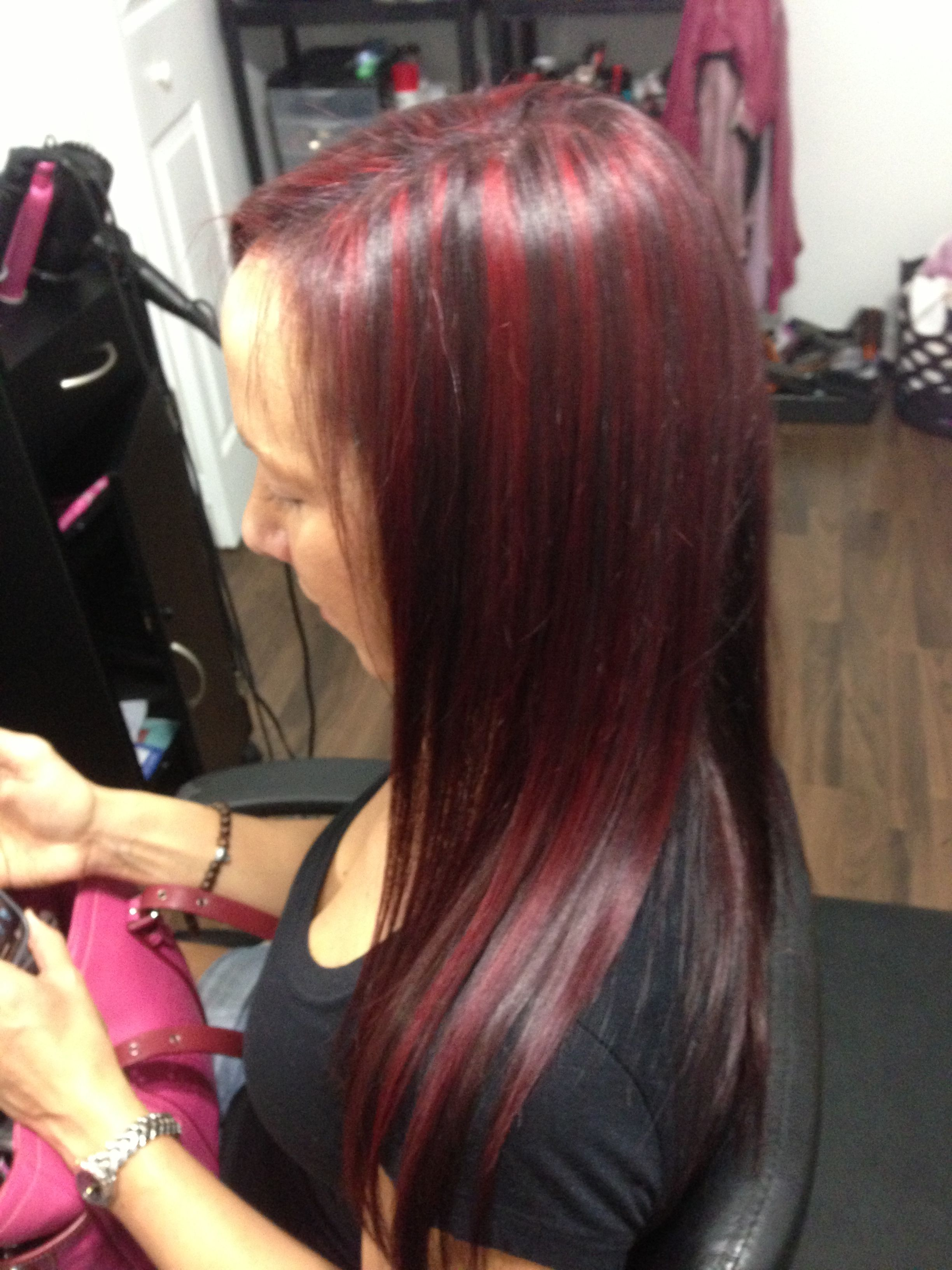 Mahogany Color With Bright Red Highlights Hair And Makeup By