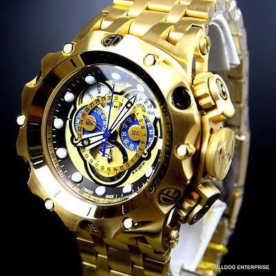 db8aab2b331f Hombres Invicta Reserve Venom Hybrid Master calendario 18k Chapado En Oro  Reloj Suizo Nuevo