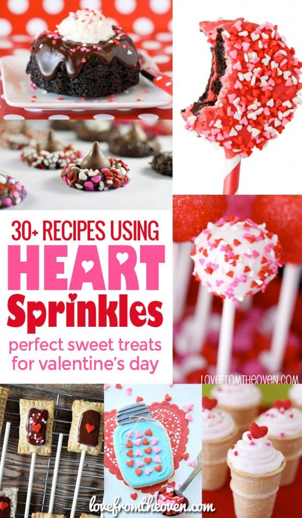 A round-up of dessert recipes using heart sprinkles for Valentine's Day!