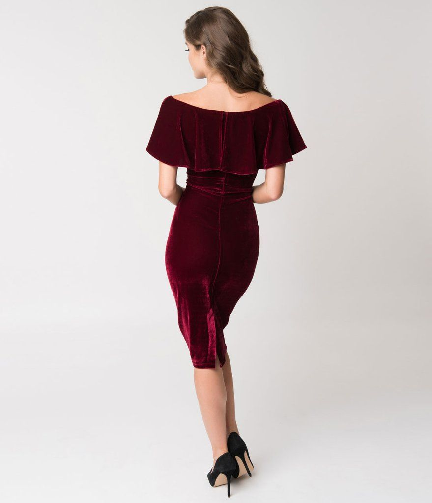 Unique Vintage Burgundy Red Velvet Draped Sophia Wiggle Dress Unique Dresses Vintage Inspired Dresses Velvet Dress