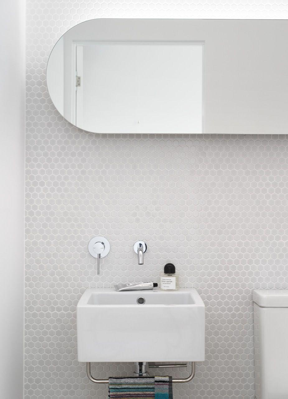 Minimal Design Blog | White mosaic tiles, Mosaics and Bathroom ...