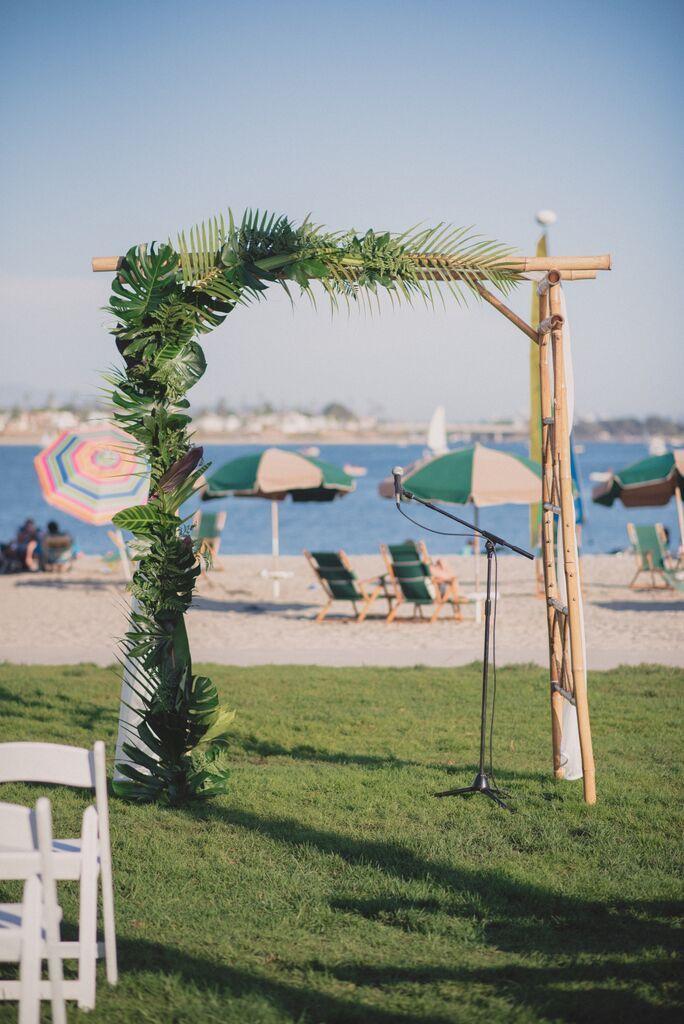Gorgeous tropical leaf arch decoration wedding ceremony decor gorgeous tropical leaf arch decoration beach wedding junglespirit Images
