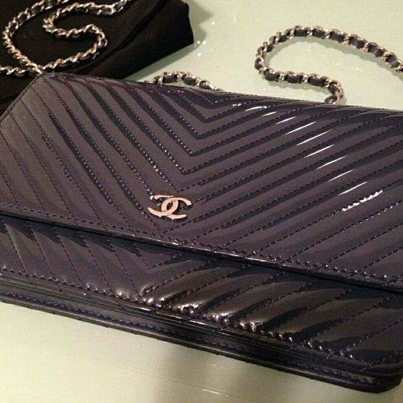 02df6adca748 Brand New CHANEL 2015 Chevron WOC Patent Leather 100% authentic Chanel  wallet on chain.