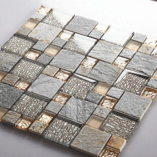 Photo of Grau Stein & Roségold Glasfliesen Französisch Muster Kristall
