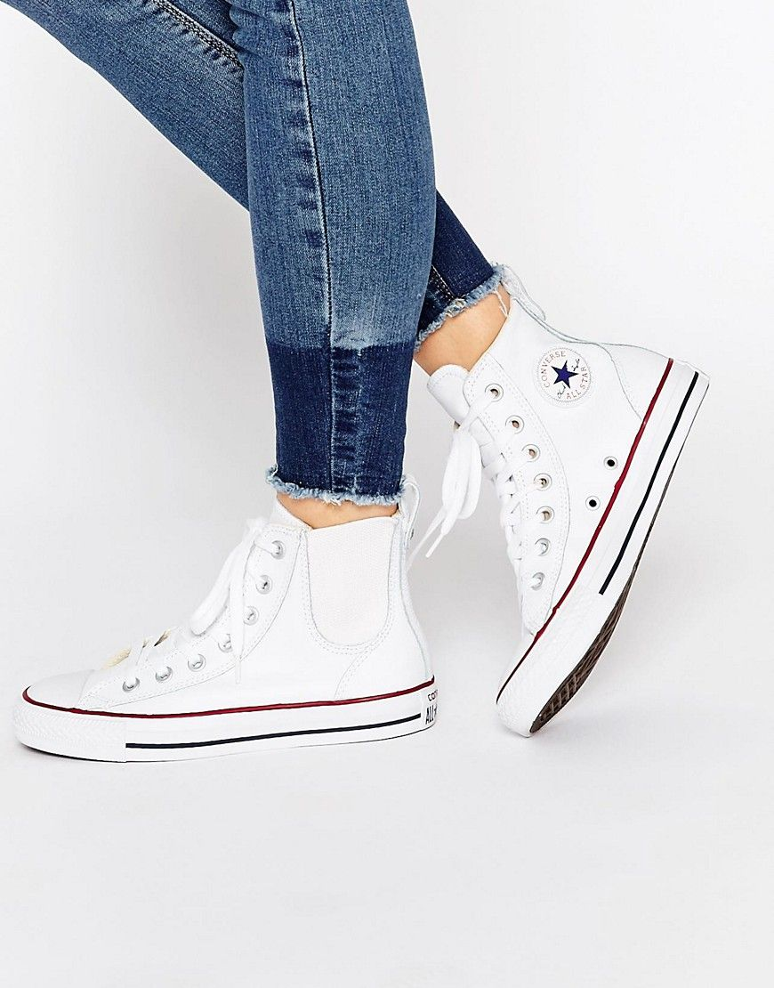 149fae4a818 Image 1 of Converse White Chuck Taylor Chelsee Trainers
