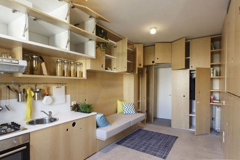 Sqm modern studio apartment full space saving furniture ideas for small apartments