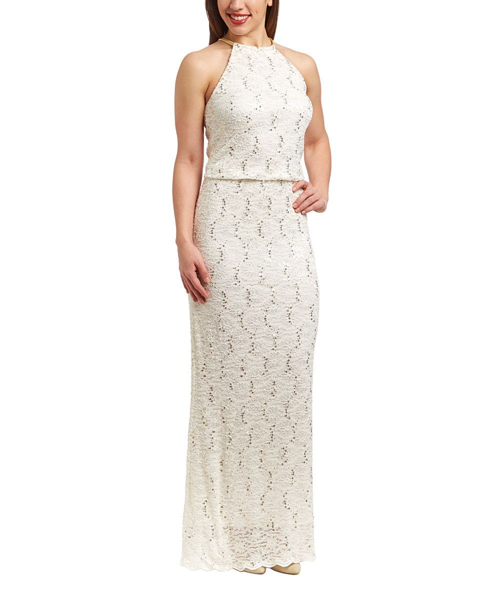 Ivory Embroidered Yoke Neck Gown - Women by R&M Richards #zulily #zulilyfinds