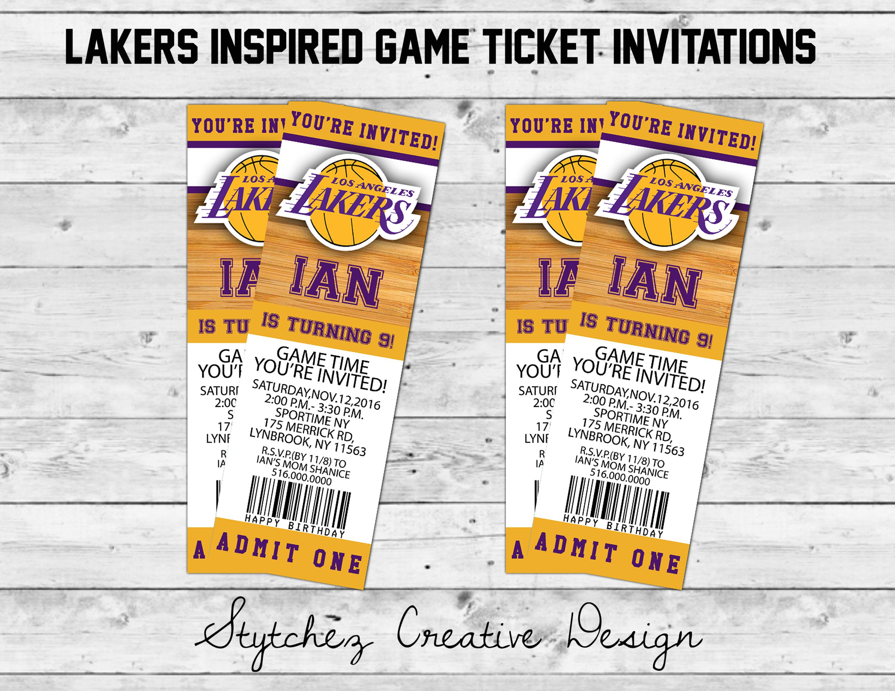 Los Angeles Lakers Inspired Game Day Ticket Invitations Birthday Basketball Digital Print Nba In 2020 Ticket Invitation Birthday Ticket Invitation Lakers