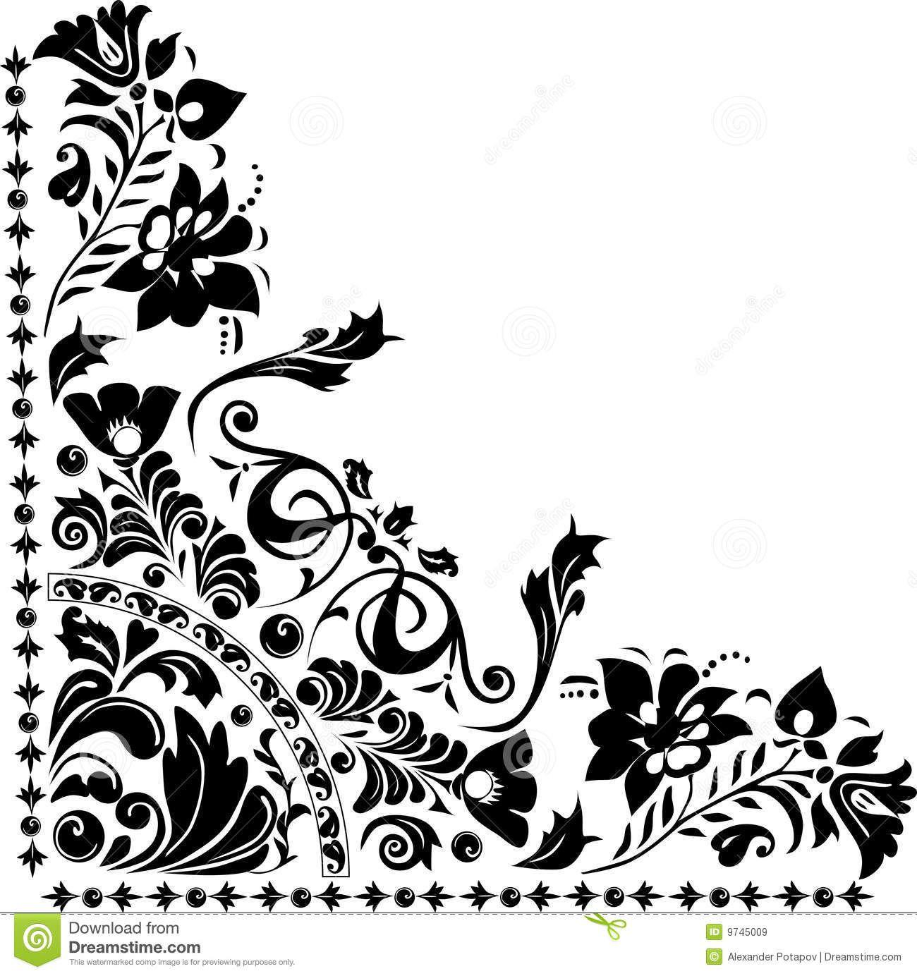 Black Flower Pattern Silhouette Stock Illustration: Silhouette Of Corner Flower