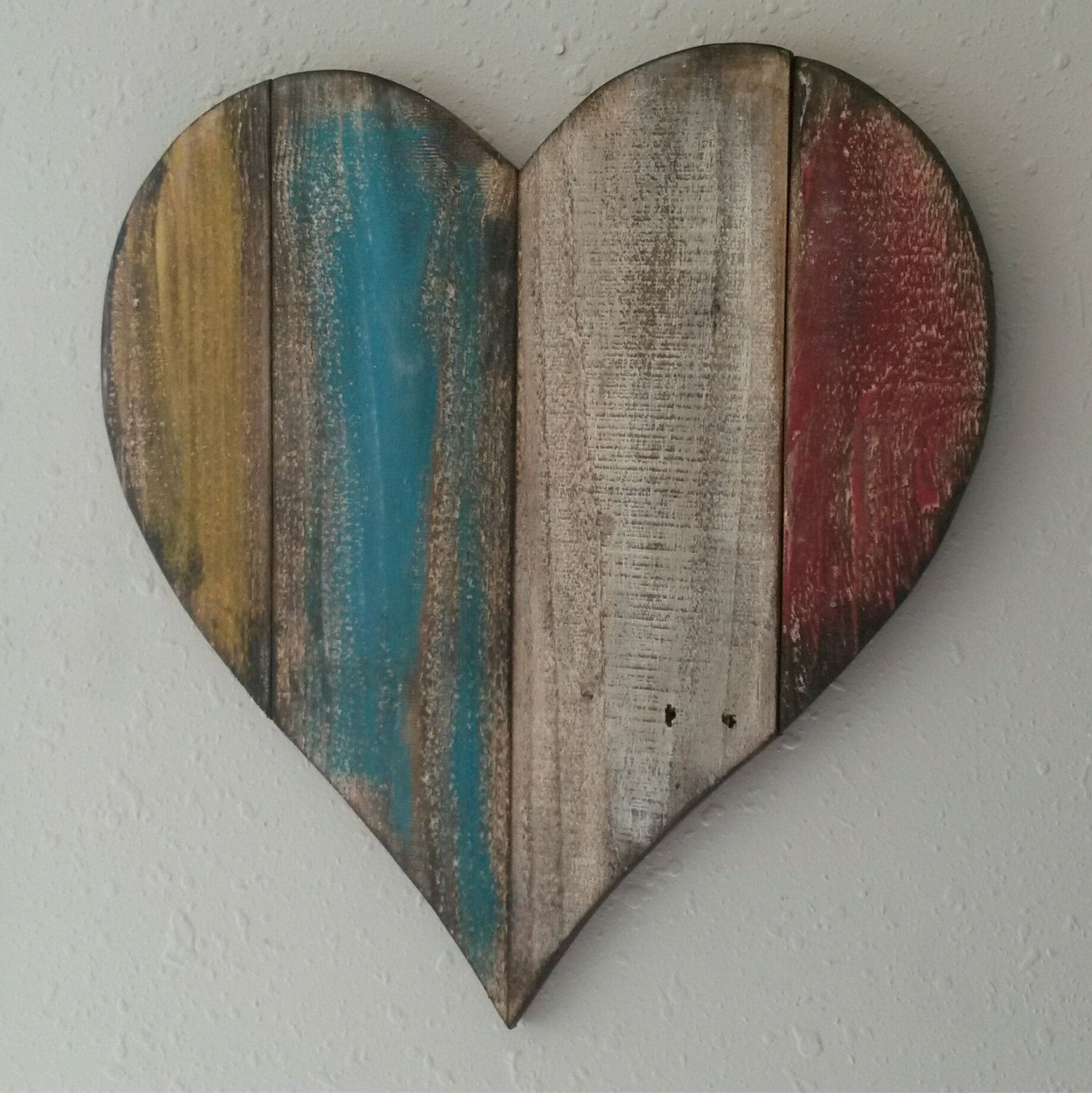 Large Wood Heart Distressed Heart Hand Painted Reclaimed Pallet Rustic Decor Farmhouse Decor Wall Hanging Wood Hearts Pallet Heart Wall Hanging