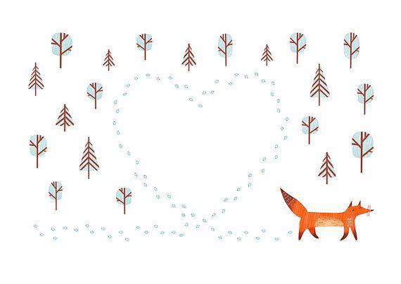 Heart Shaped Fox Tracks. Art Print  A5 (unframed)