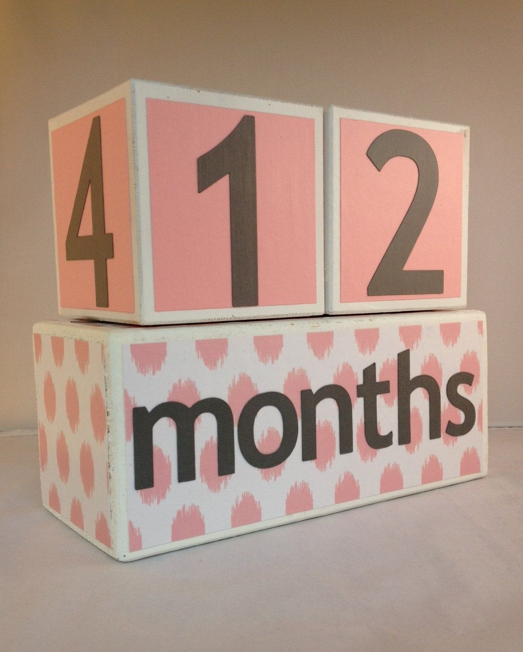 Wooden Baby Age Blocks In Pink And Grey Polkadots By Elizablocks