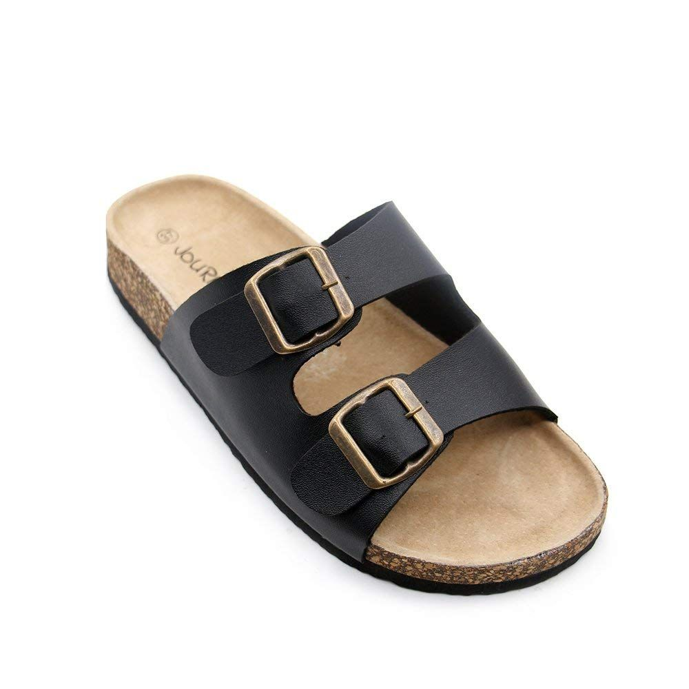 9e802dedbac311 JOURNEI Double Buckle Flat Sandals Slippers for Girls Women Men Slides Slip  Adjustable Design    Nice of your presence to drop by to view the photo.