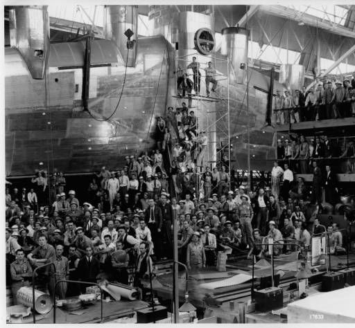 Men working at Douglas plant on new army giant bomber Douglas B-19