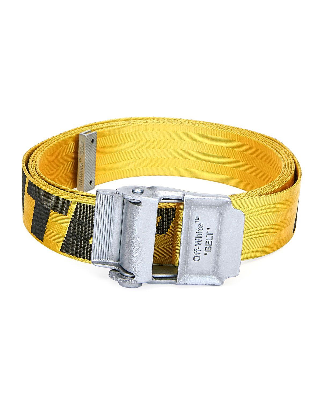 Off White 2 5cm Yellow 2 0 Industrial Logo Jacquard Webbing Belt In Yellow Black Modesens Off White Industrial Belt Off White Belt Yellow Black
