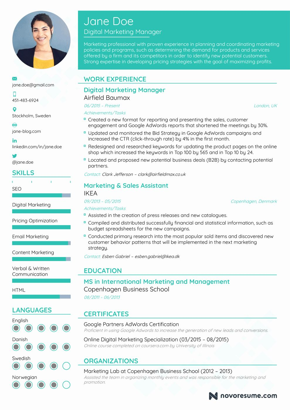 23 Marketing Manager Resume Examples in 2020 Best resume