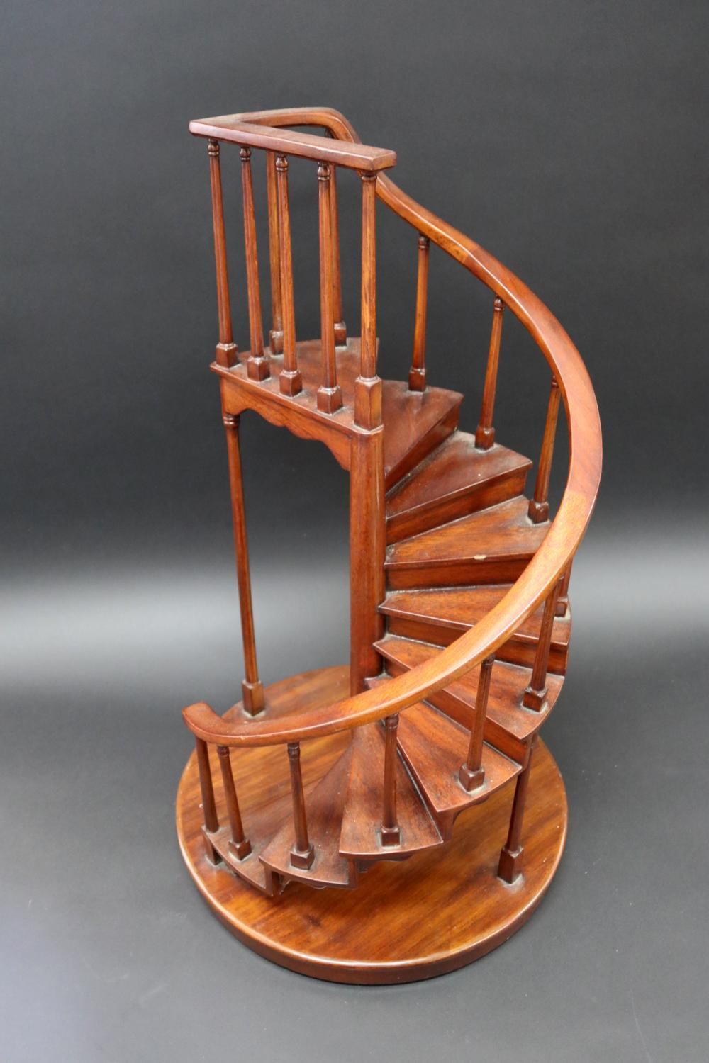 Mahogany wooden scale spiral staircase model, approx 60cm