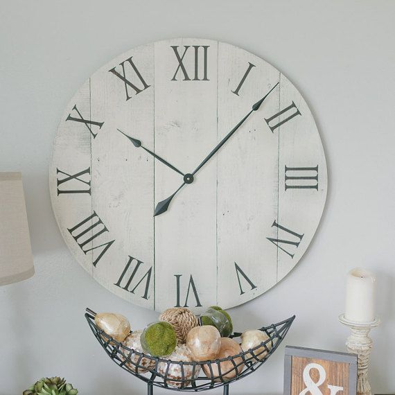 30 In Wall Clock True White Oversized Rustic