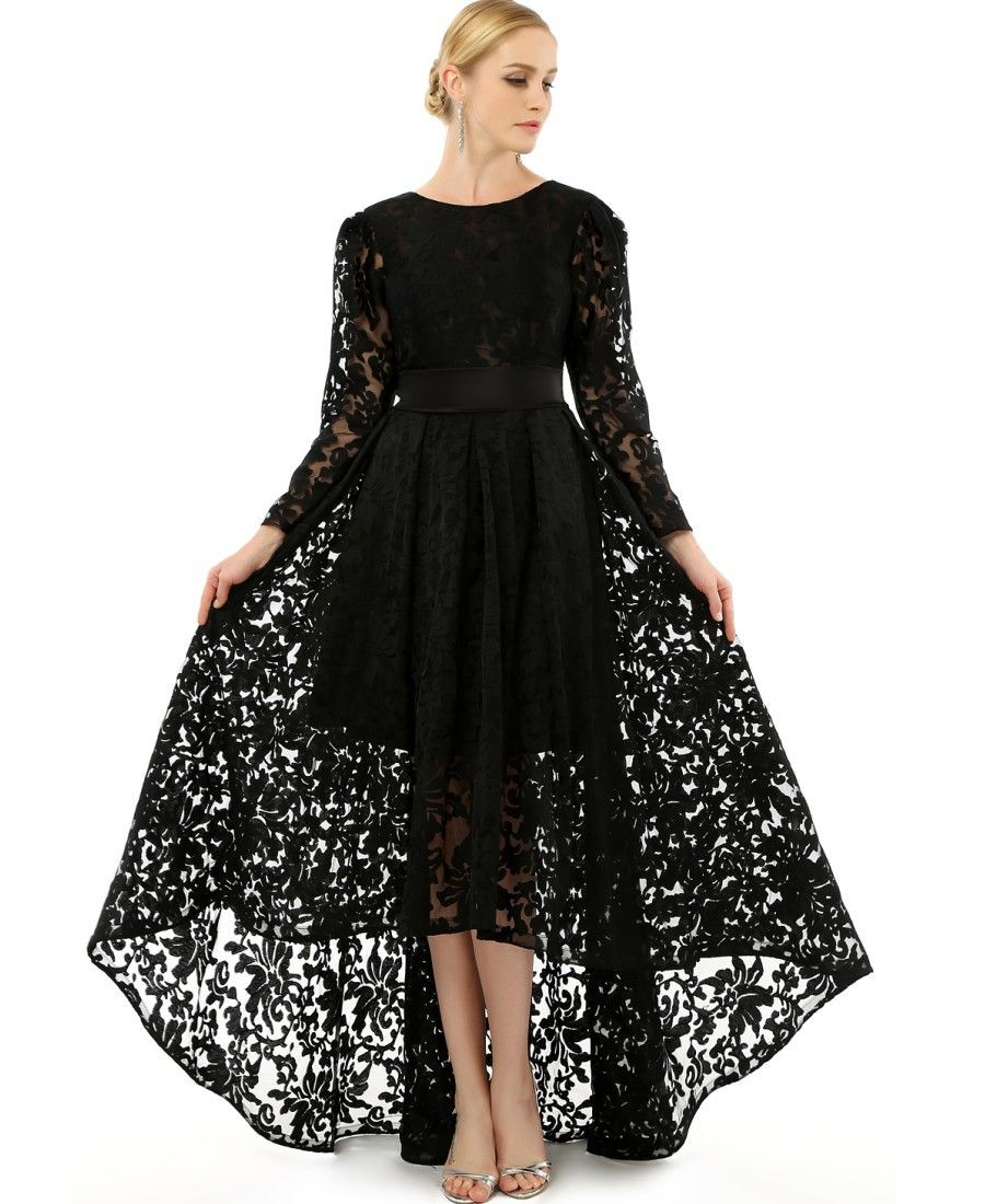 Plus size black lace dress with long sleeves