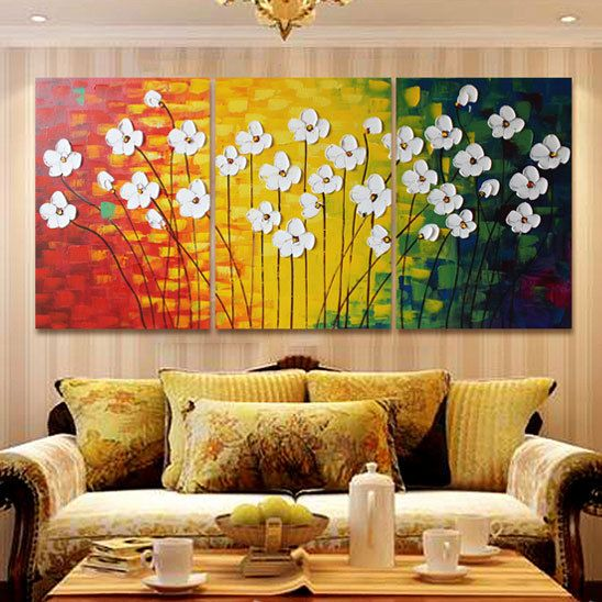 3 Panels Handpainted Canvas Wall Art Abstract Painting Modern ...