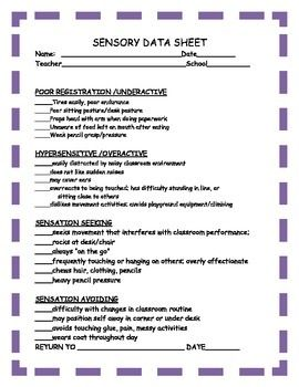Sensory Checklist For The Classroom School Based Therapy Data