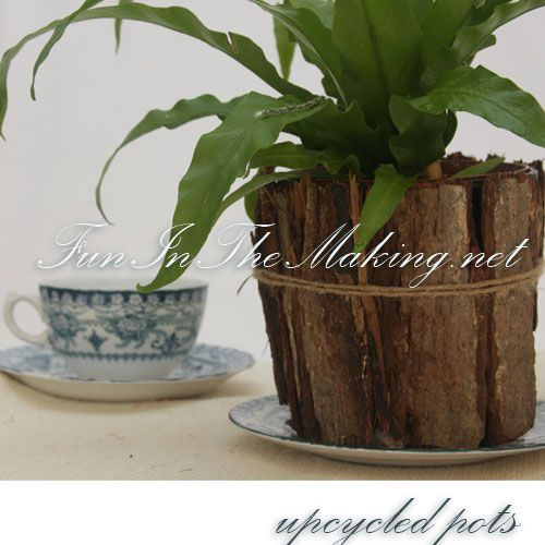 Upcycled Plastic Pots Beautiful Bark Covered Pots Fun In The Making Cheap Plant Pots Flower Pots Plastic Plant Pots