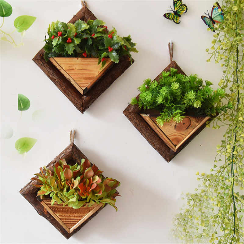 Wall Hanging Flower Pots Wooden Flower Container Wood Ornamental Hanging Baskets Wall Mount Flowerpots Garden Planter Flower Pots Planters Aliexpress In 2020 Hanging Flower Pots Wooden Flowers Flower Pots