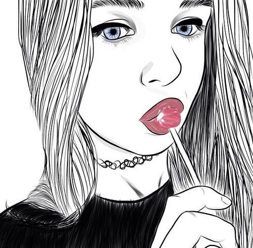Afficher L Dessin Noir Et Blanc Dessin De Fille Et