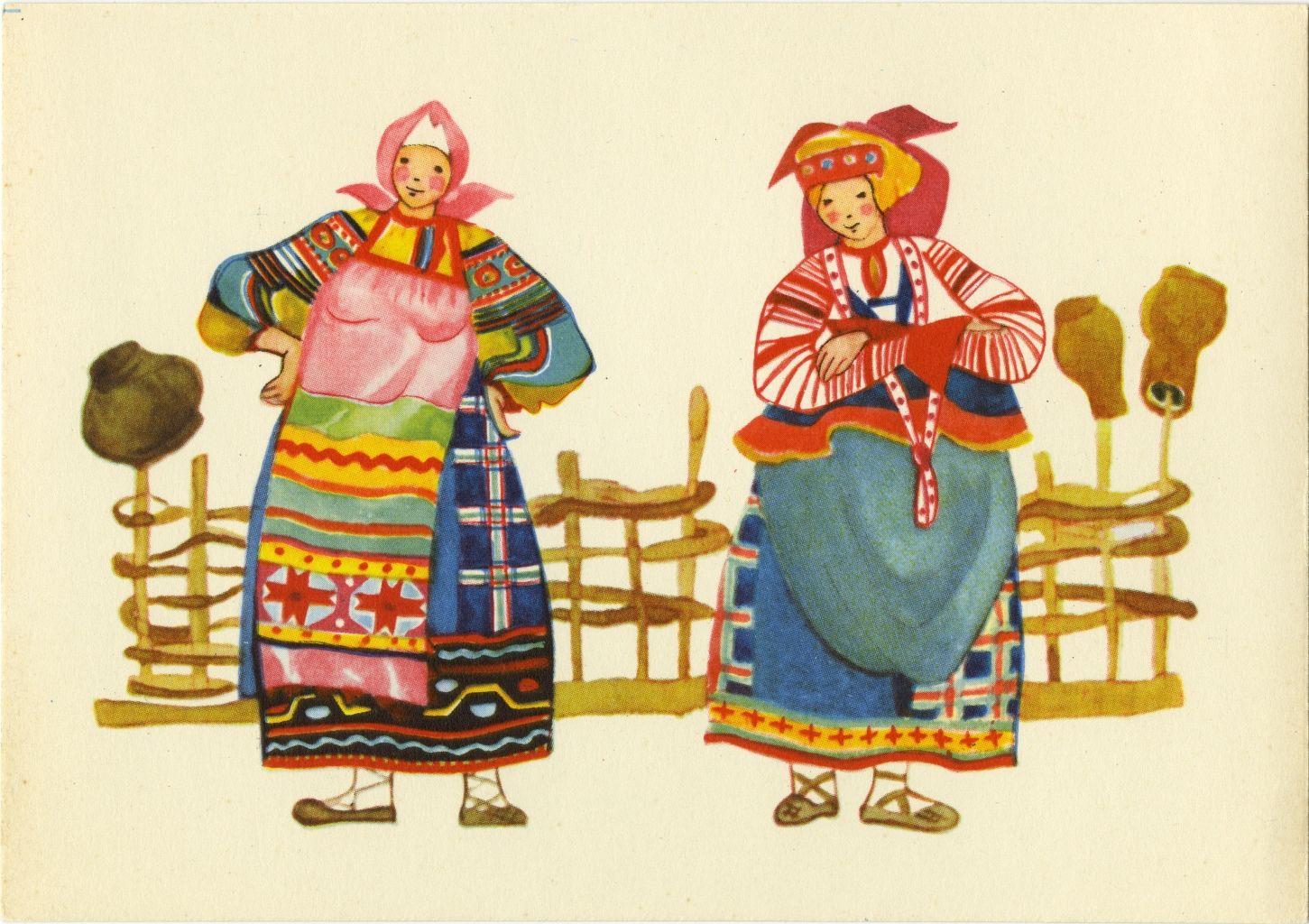 Русские национальные открытки, подруге день рождения