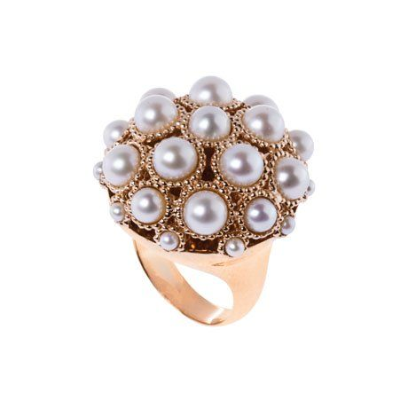 Gvea ring in 18k rose gold with freshwater pearls 5720 Carla