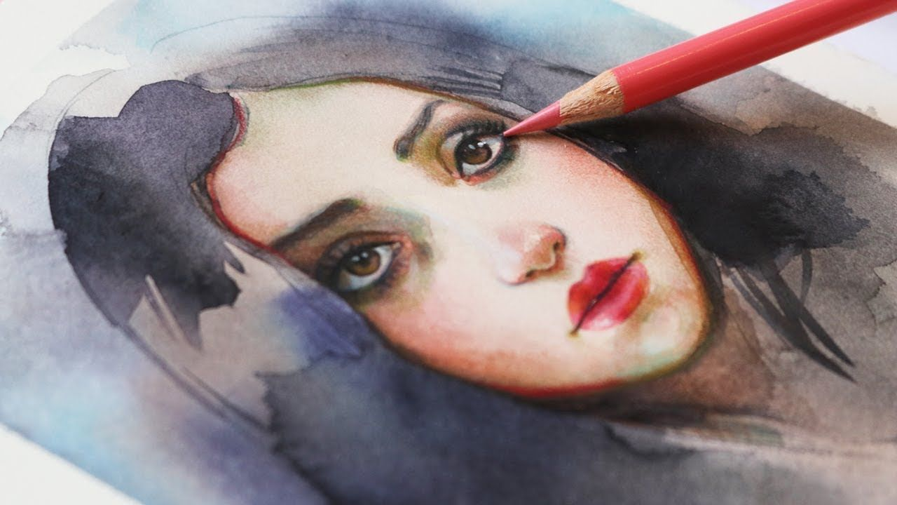 Watercolor Color Pencils Portrait Tutorial Colored Pencil