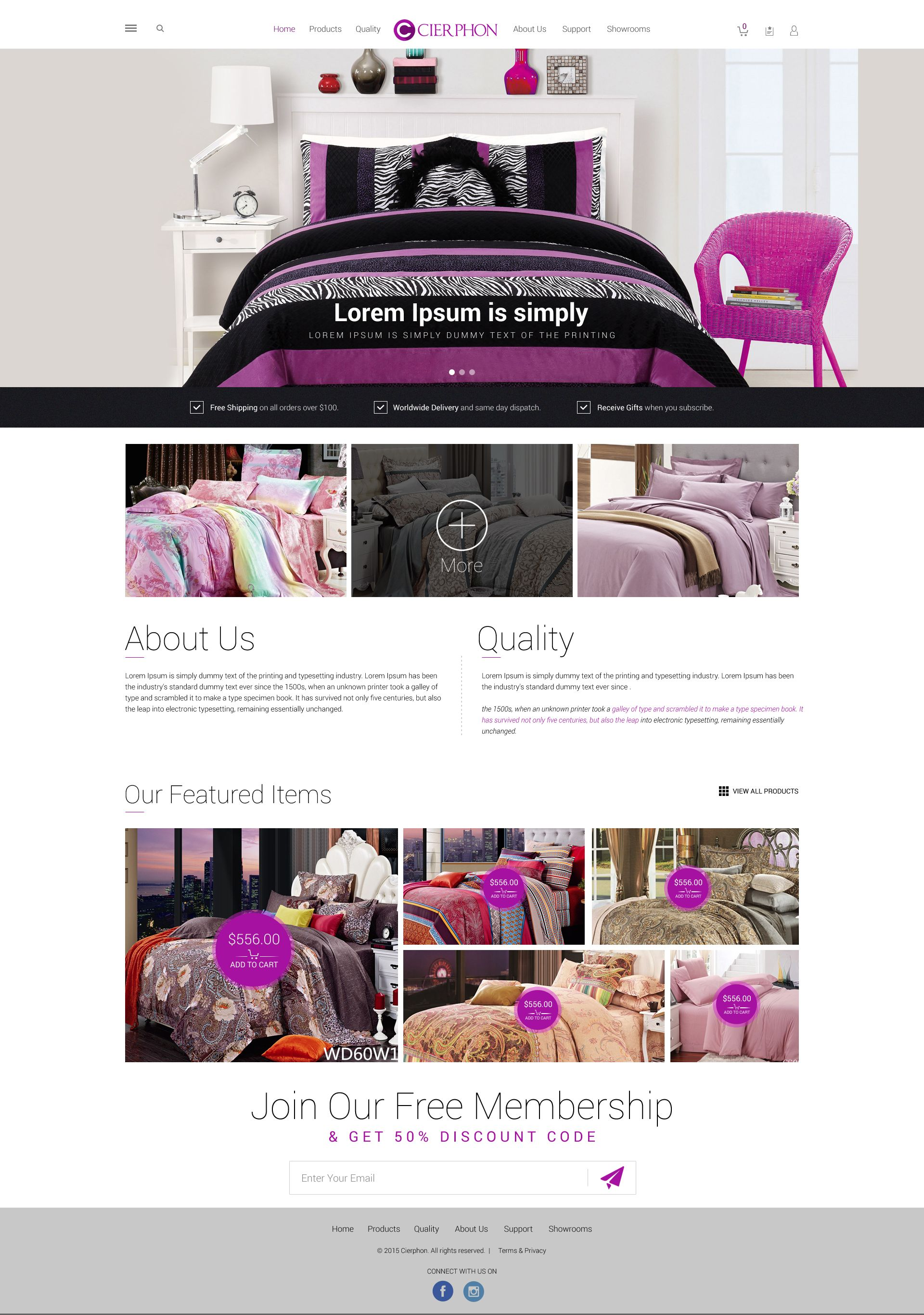 BEDDING ECOMMERCE SITE TEMPLATE DESIGN DINA NATH SHAW TEMPLATE - Ecommerce site templates