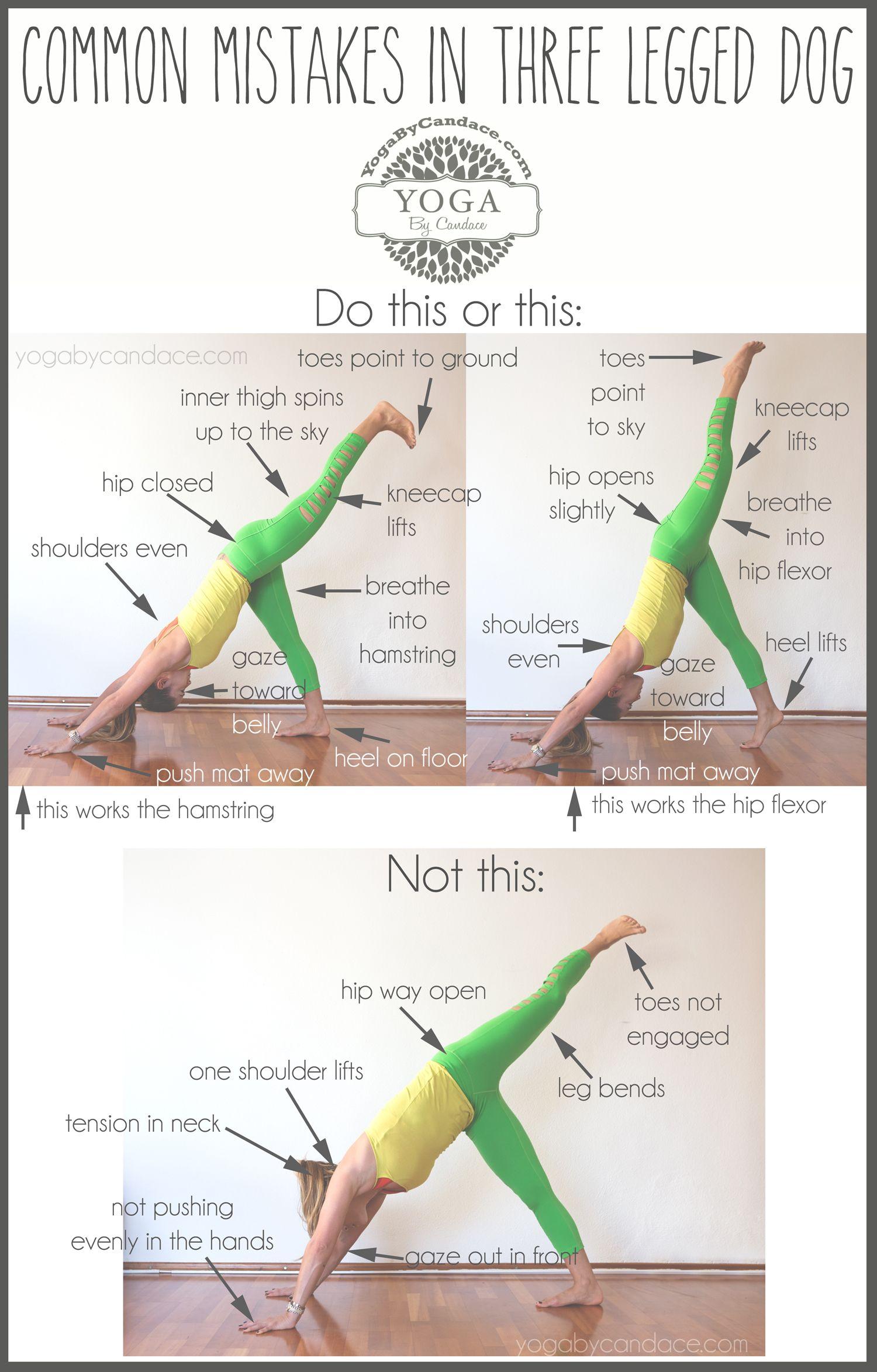 Common Mistakes In Three Legged Dog Yogabycandace Yoga Moves How To Do Yoga Yoga Asanas