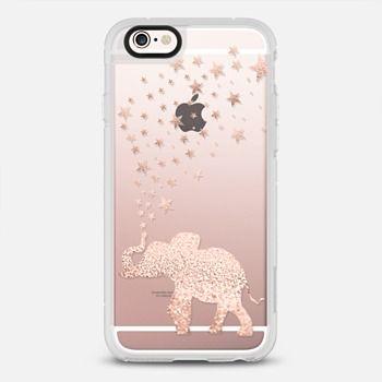 HAPPY ELEPHANT ROSE GOLD FAUX GLITTER by Monika Strigel