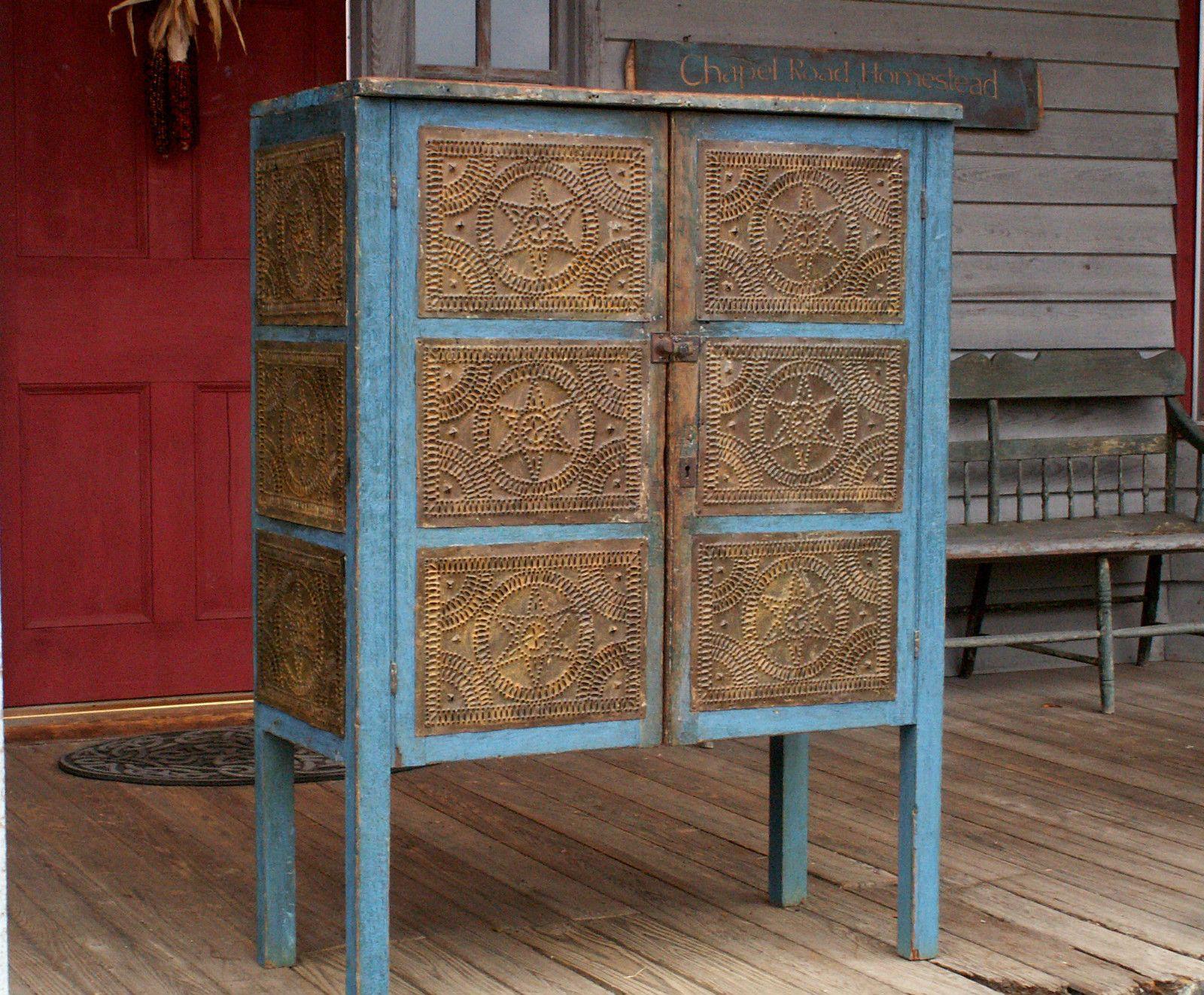 Vintage Antique Pre Civil War Blue Pie Safe Cupboard from North