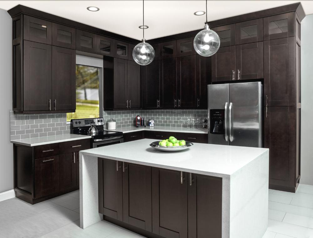 Dark Chocolate Shaker Frameless Kitchen Cabinets Frameless Kitchen Cabinets Free Kitchen Design Kitchen Cabinets