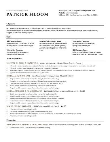 Free Resume Template. Traditional Template Style With Bulleted