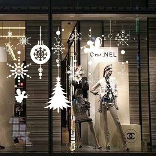 white snowflake string vinyl removable wall window sticker decal xmas decor xmas. Black Bedroom Furniture Sets. Home Design Ideas