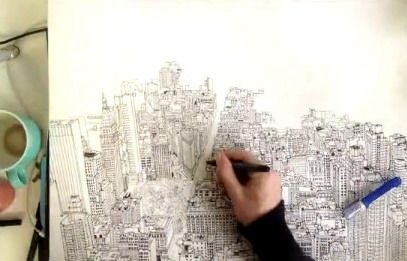 A British artist has created a remarkable time-lapse sketch of the Lower Manhattan skyline from the top of the Empire State building in New York.    Read more and watch video: http://www.digitaljournal.com/article/332542