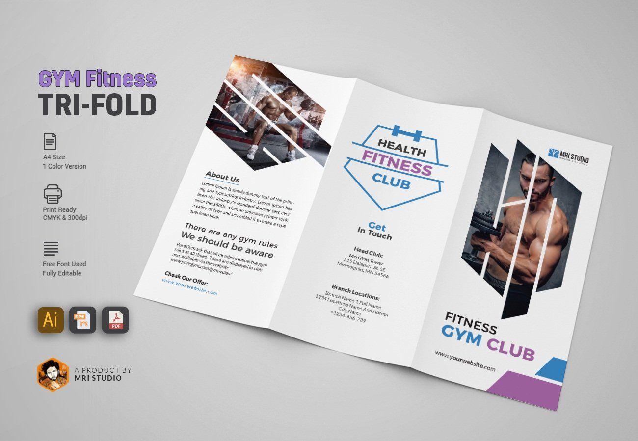 GYM Trifold Brochure in 2020 Trifold brochure, Brochure